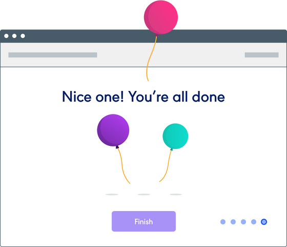 Management screen with balloons